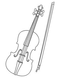 Drawn violin color And Free at Musical Page