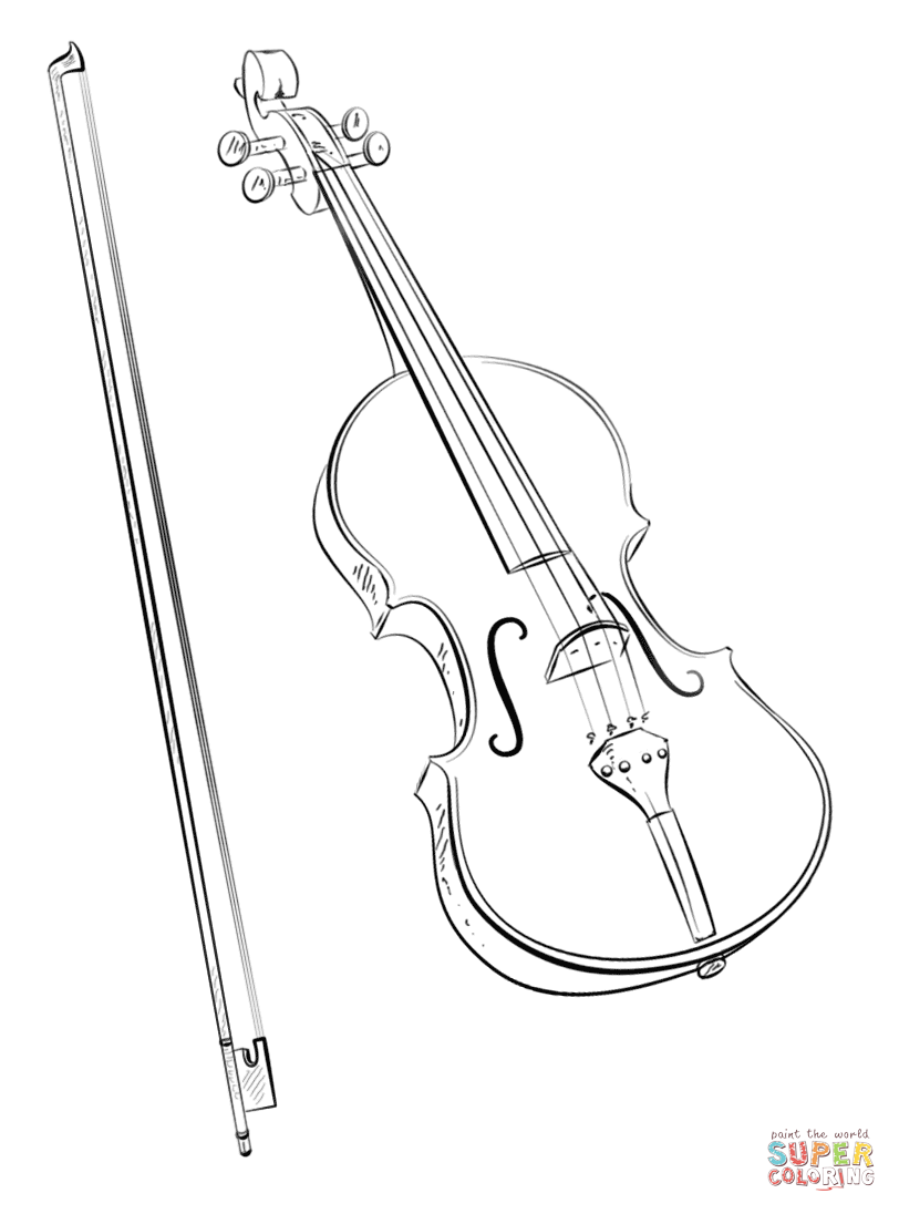 Drawn violinist coloring page Coloring Pages Bow Free and