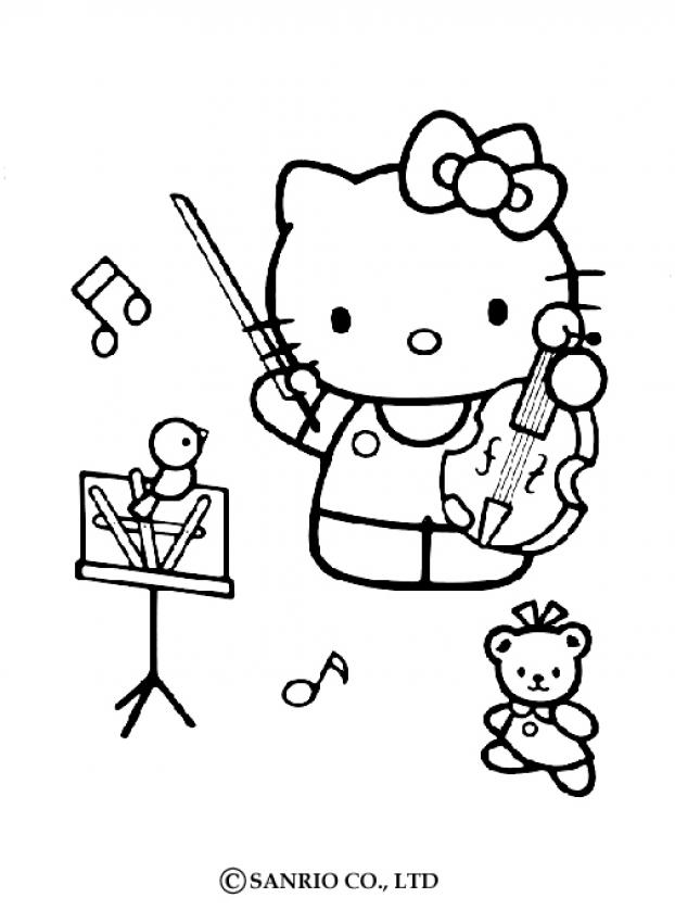 Drawn violinist coloring page Pages coloring 36 KITTY HELLO