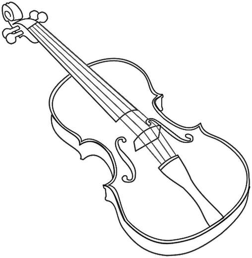 Drawn violin Musical and Coloring Music Musical