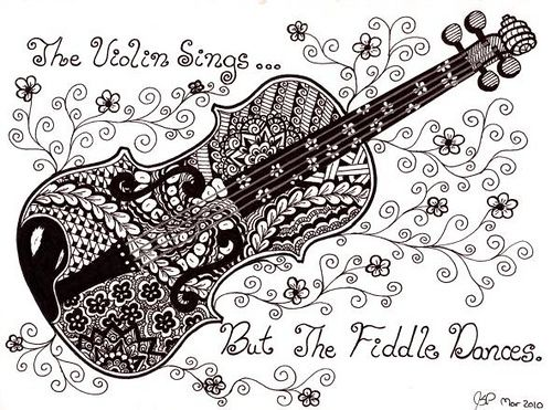 Drawn violin doodle And I zentangles #doodle love