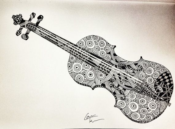 Drawn violinist doodle Dangles about Zentangle on Violin