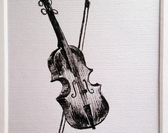 Drawn violinist fiddle Drawing Mat on with Etsy
