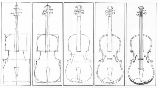 Drawn violin line drawing Line are drawn center can