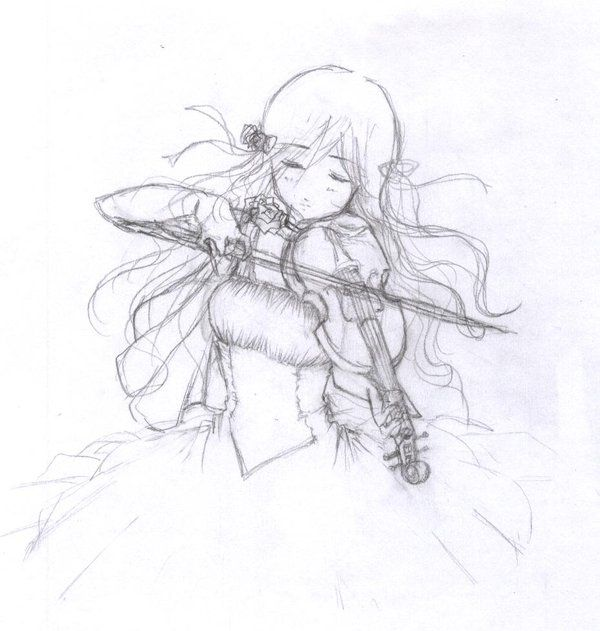Drawn violin line drawing @deviantART about violin to images