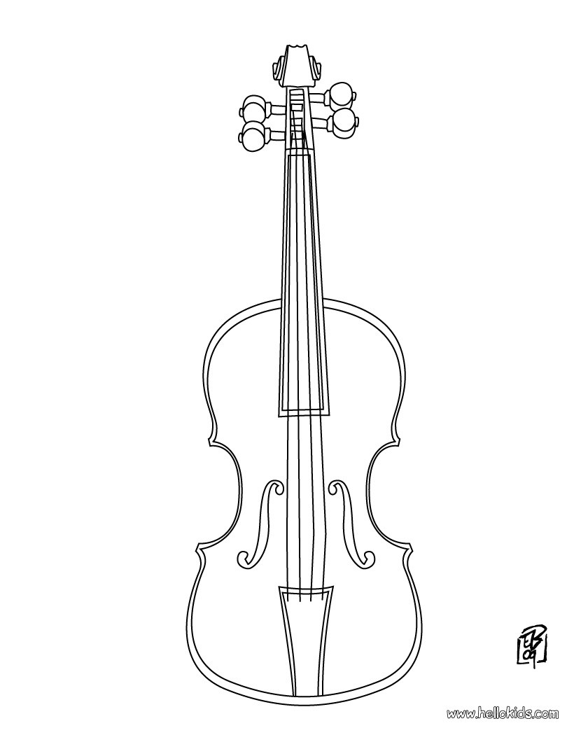 Drawn violin line drawing Com coloring Violin Hellokids Violin