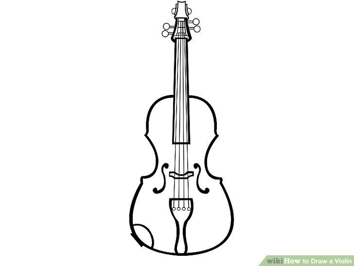 Drawn violin line drawing Violin: Pictures) Step Draw (with