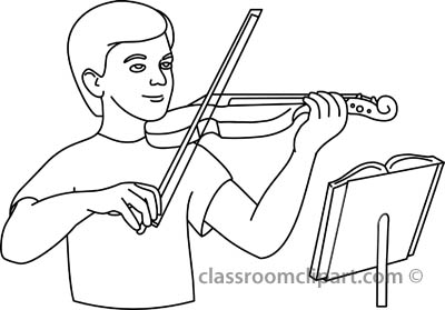 Violin clipart outline Playing black violin Art art