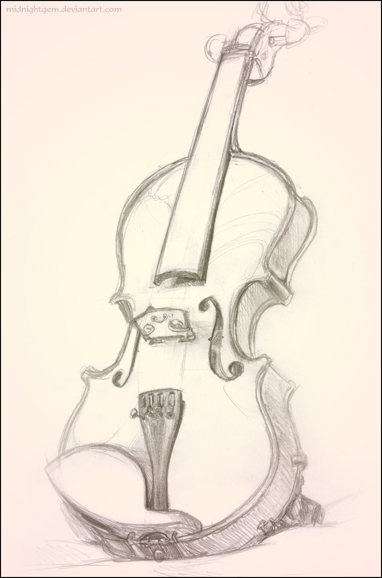 Drawn violinist line drawing On of Violin of Study