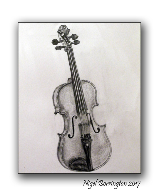 Drawn violin pencil sketch Borrington Paper Violin life My