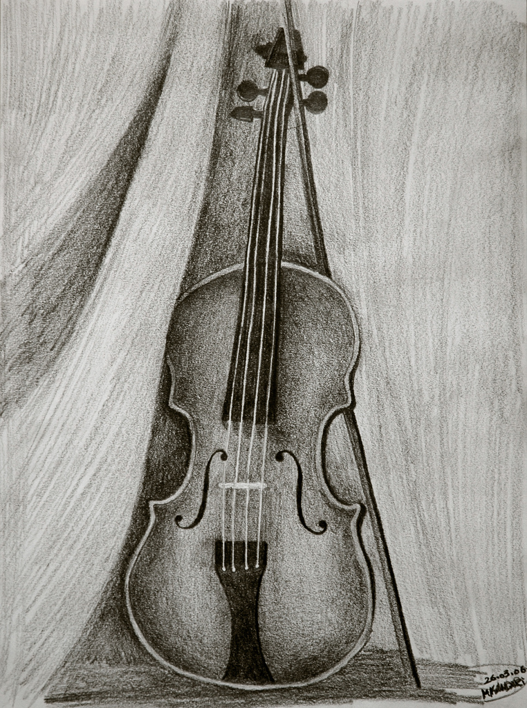 Drawn violin pencil sketch 26 mY ♥  Violin