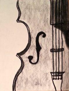 Drawn violin Drawing Charcoal Violin (PRINT) Violin