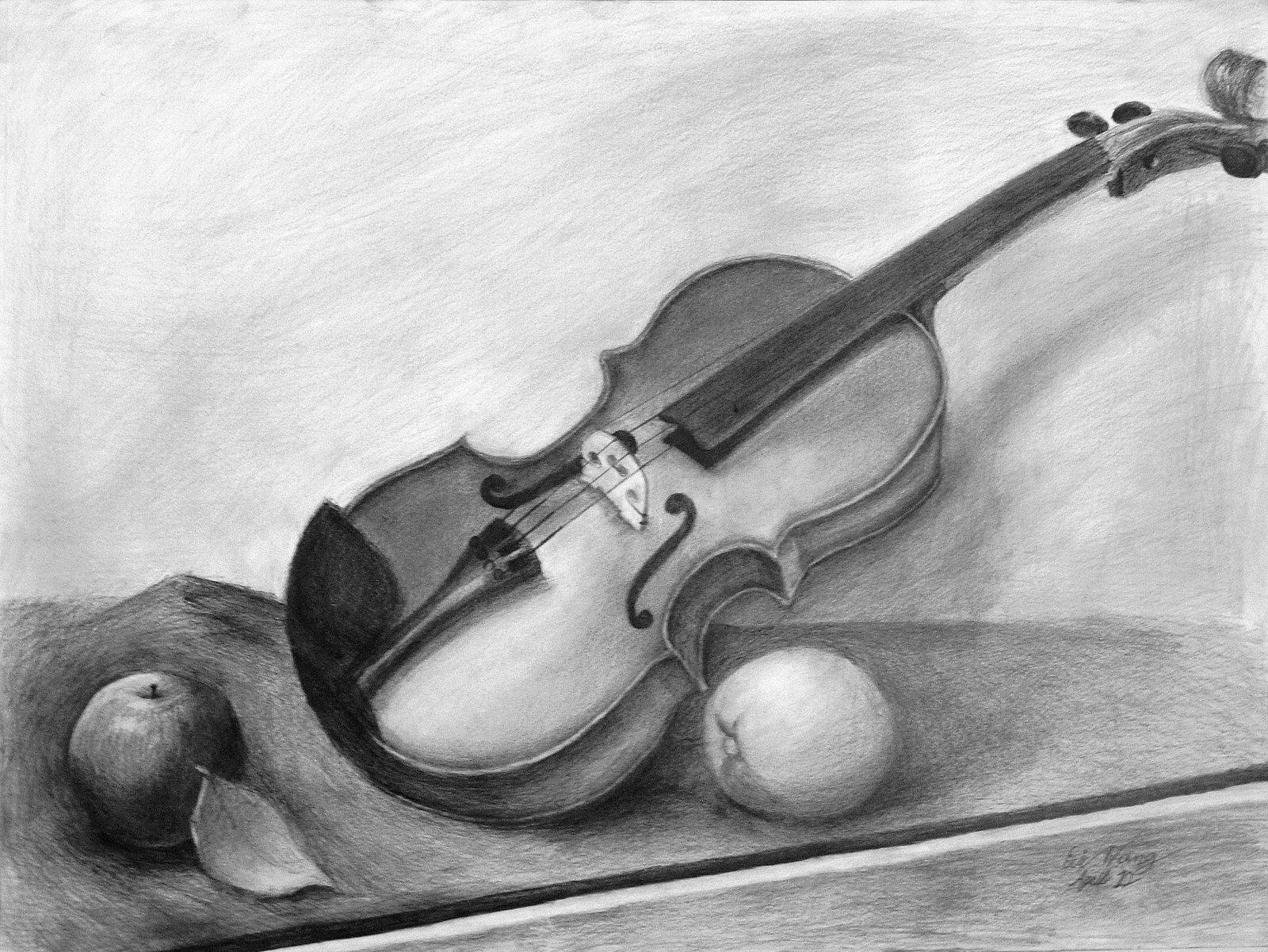 Drawn violin pencil sketch Life on by Still