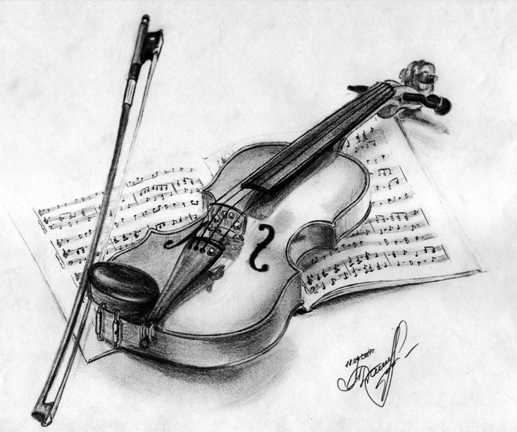 Drawn violin pencil sketch Violin Drawing Violin