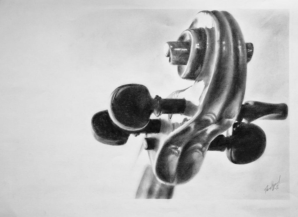 Drawn violin pencil sketch IMGFLASH Pencil Drawing Violin 32471