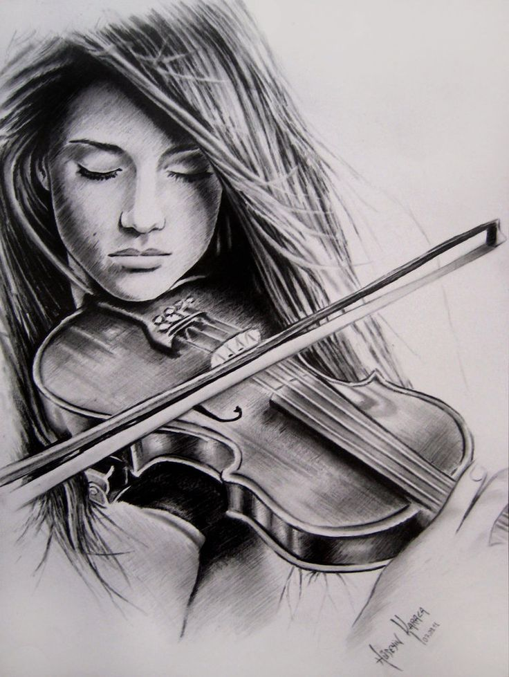 Drawn violinist realistic And confidence also also Playing