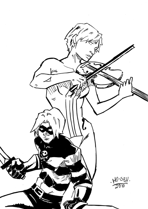 Drawn violin umbrella academy After 2010 entry two with