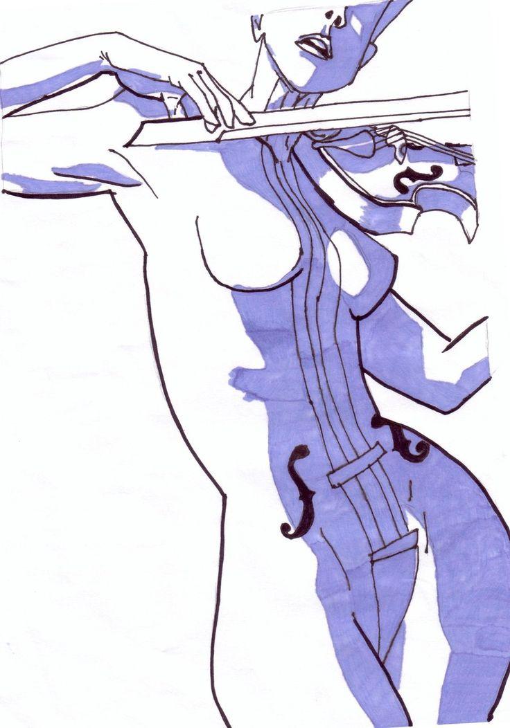 Drawn violin umbrella academy White White Violin Umbrella Violin