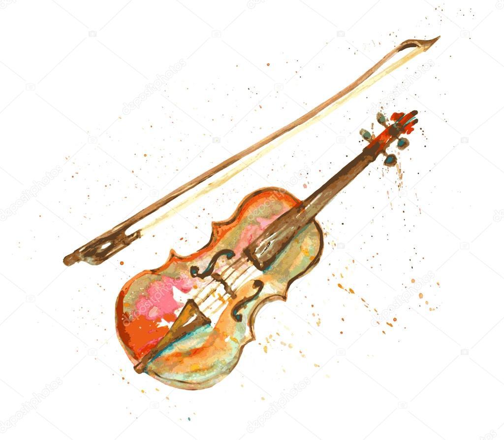 Drawn violin vector Hand © Watercolor violin #75948945