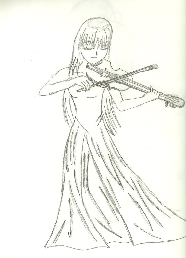 Drawn violinist anime On Violin playing the by