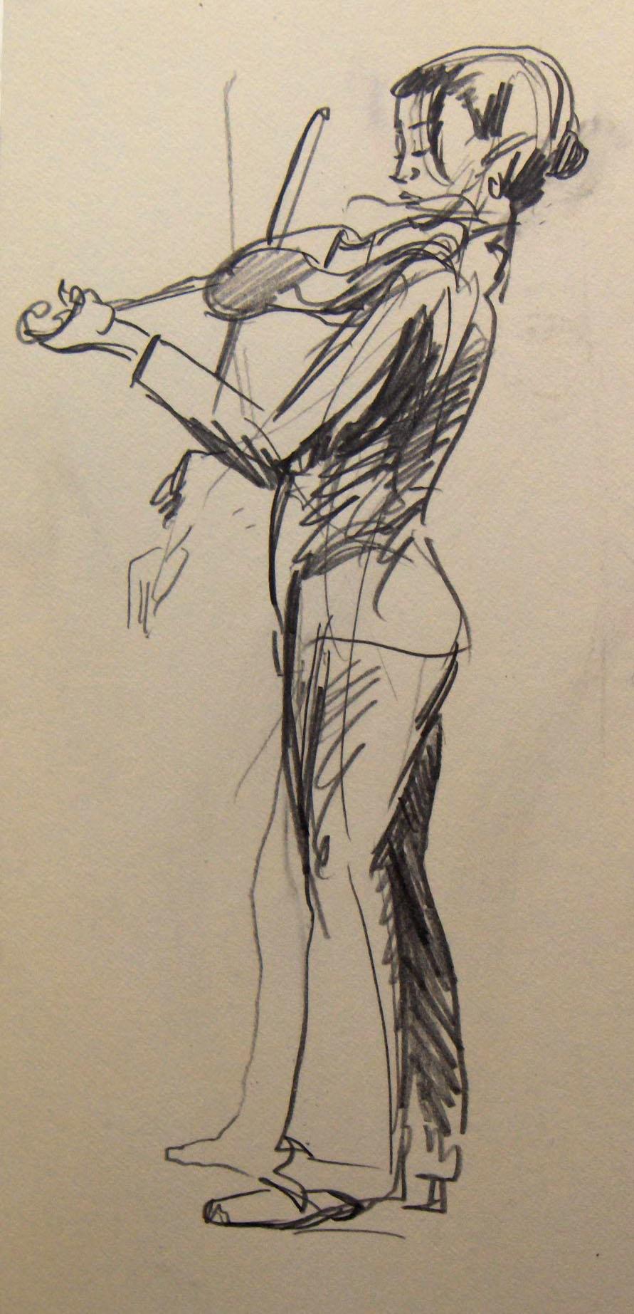 Drawn violinist More Jest a gentleman mode