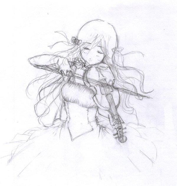 Drawn violinist Draw by I a by
