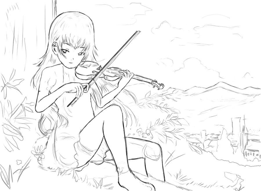 Drawn violinist anime On on vancouverpeewee sitting by