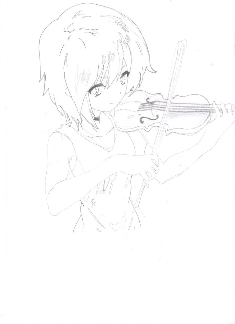 Drawn violinist anime By stage girl violin stage