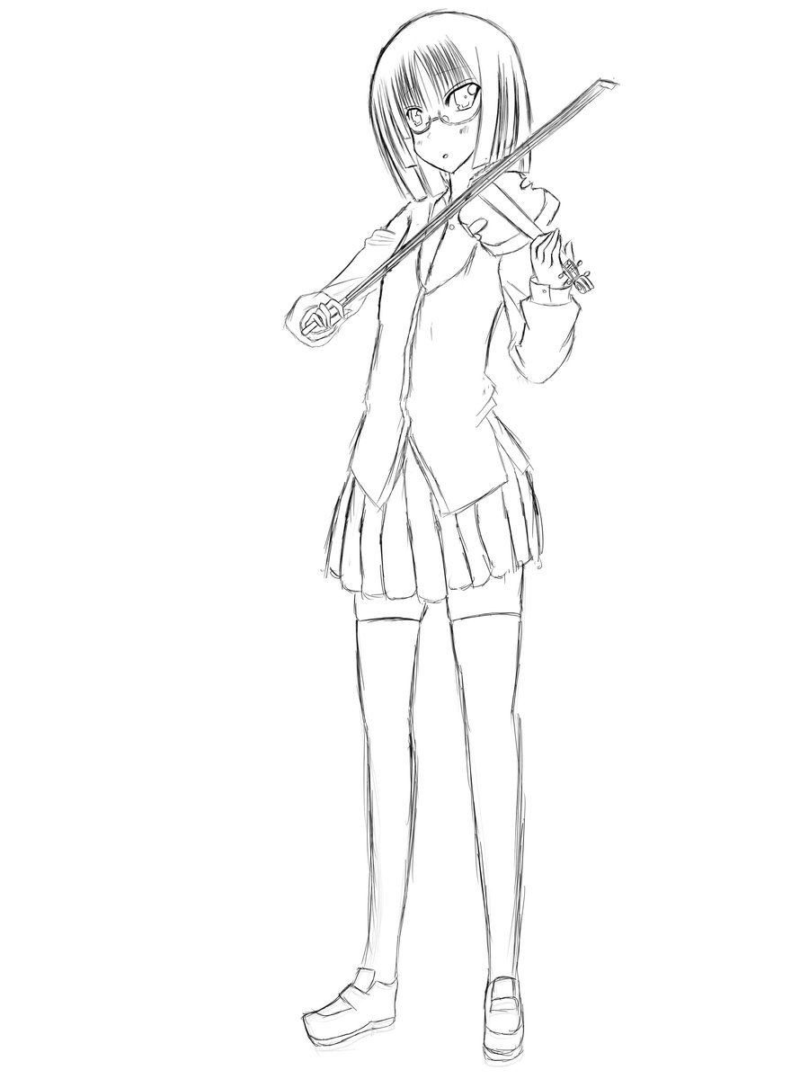 Drawn violinist anime On (Sketch Girl Girl by