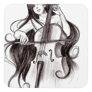 Drawn violin Girl Girl Painting Violin Lady