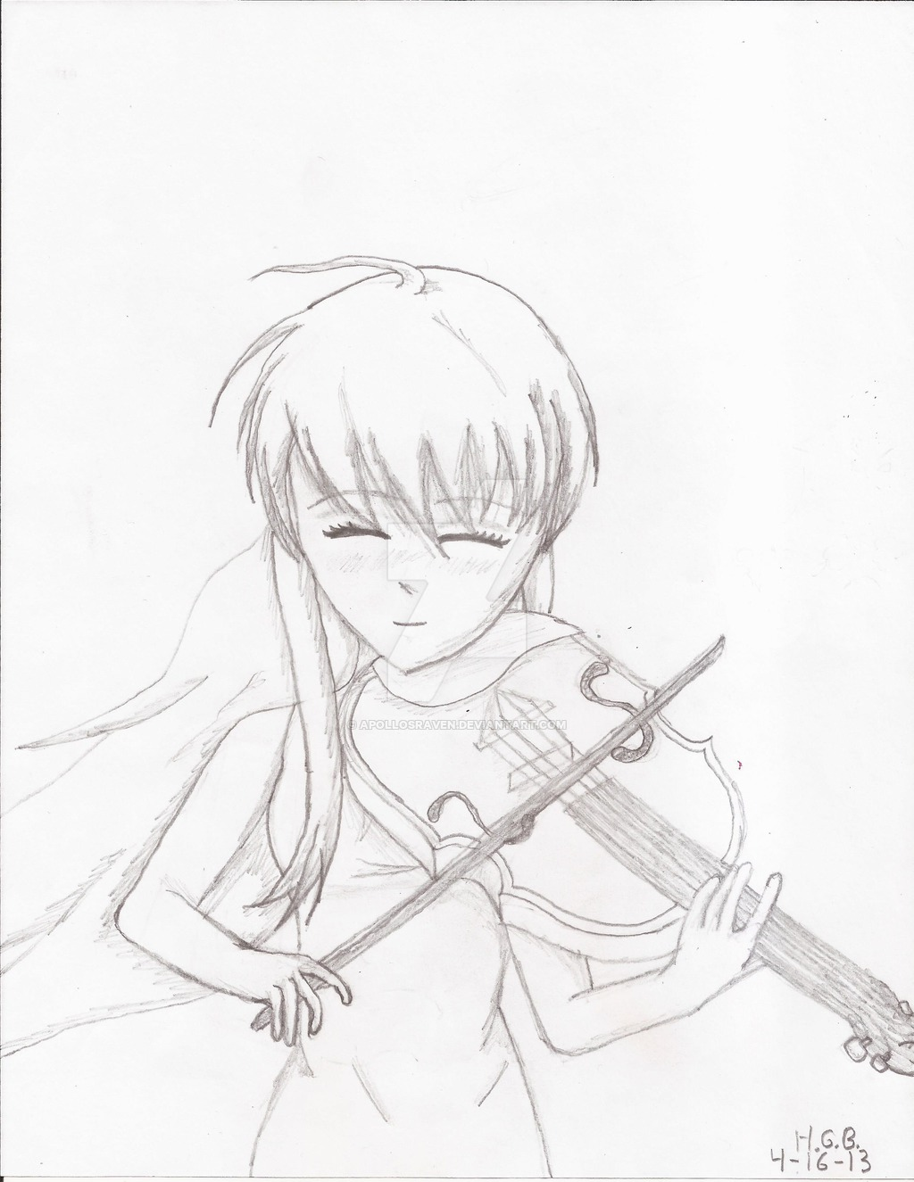 Drawn violinist anime ApollosRaven The Girl Playing Violin
