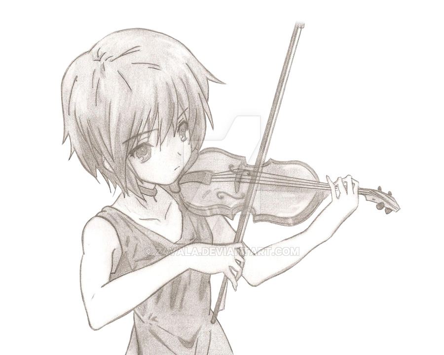 Drawn violinist anime Z4VALA Z4VALA by Nagato on