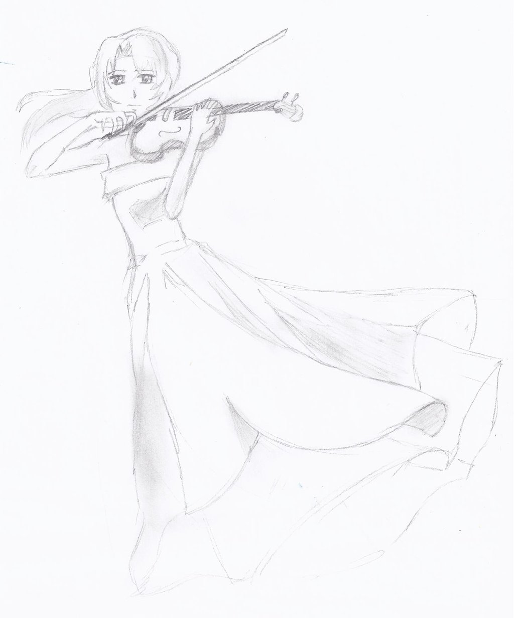 Drawn violinist anime With by violin violin on