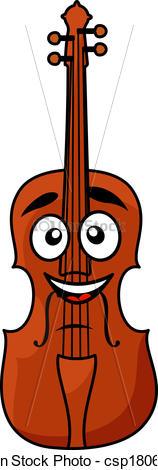 Drawn violinist doodle Happy wooden smile big violin