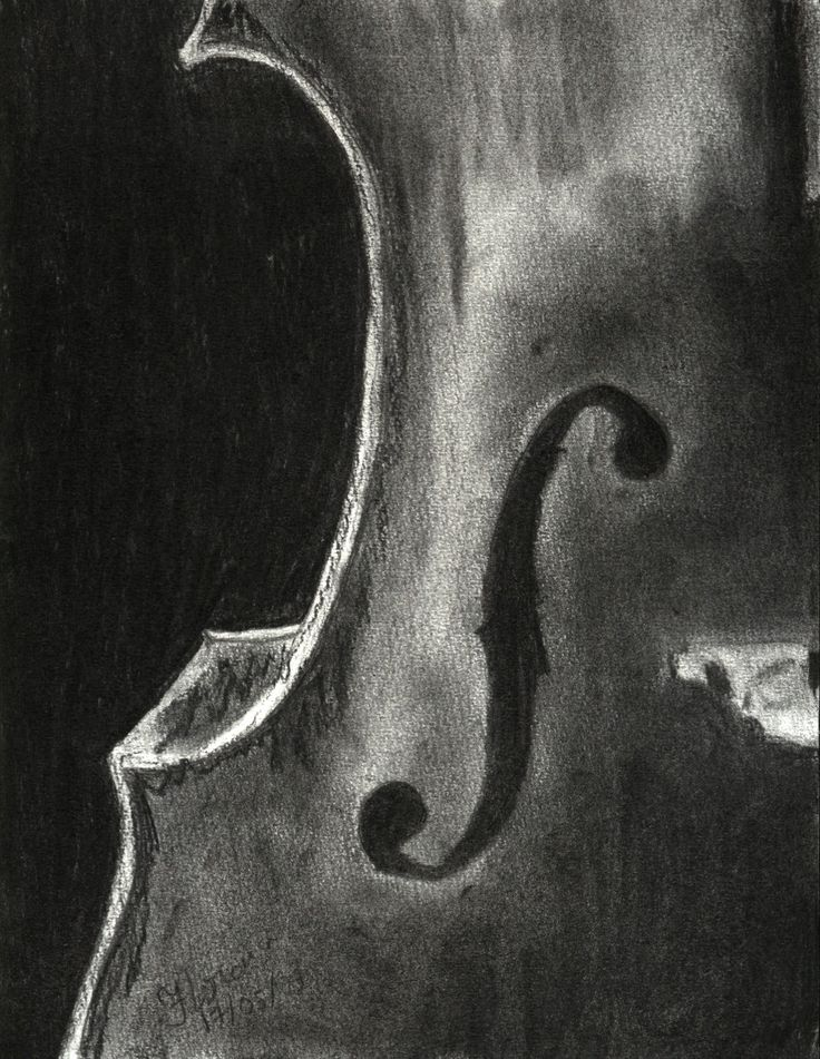 Drawn violinist doodle Cello on 174 side charcoal