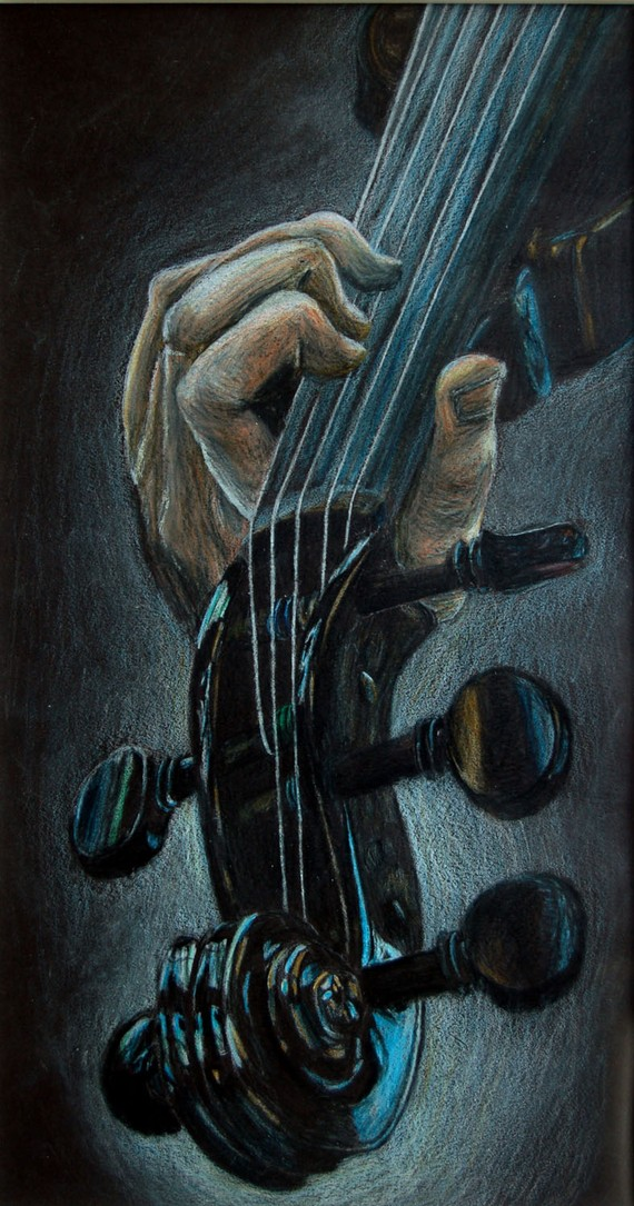 Drawn violinist color By by Pencil Colored Colored