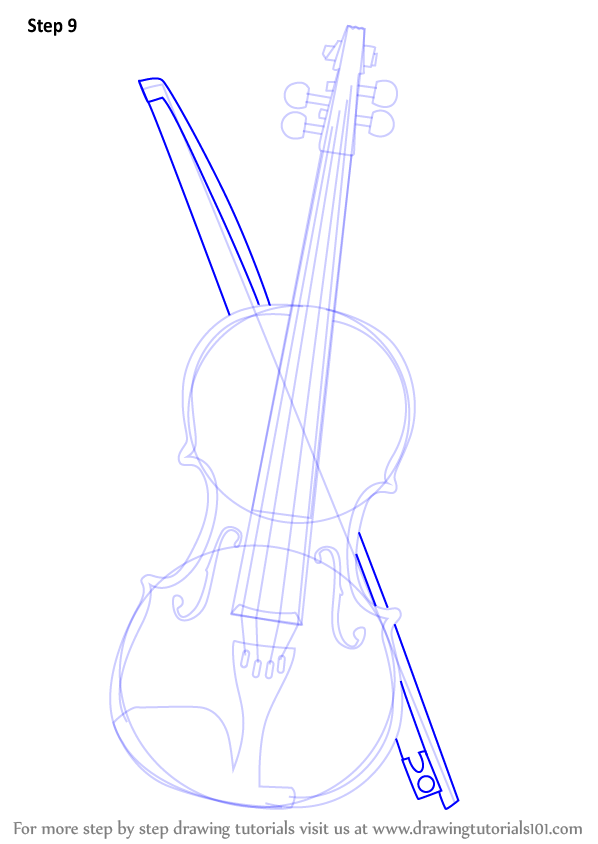 Drawn violinist line drawing Step 10 How Violin a
