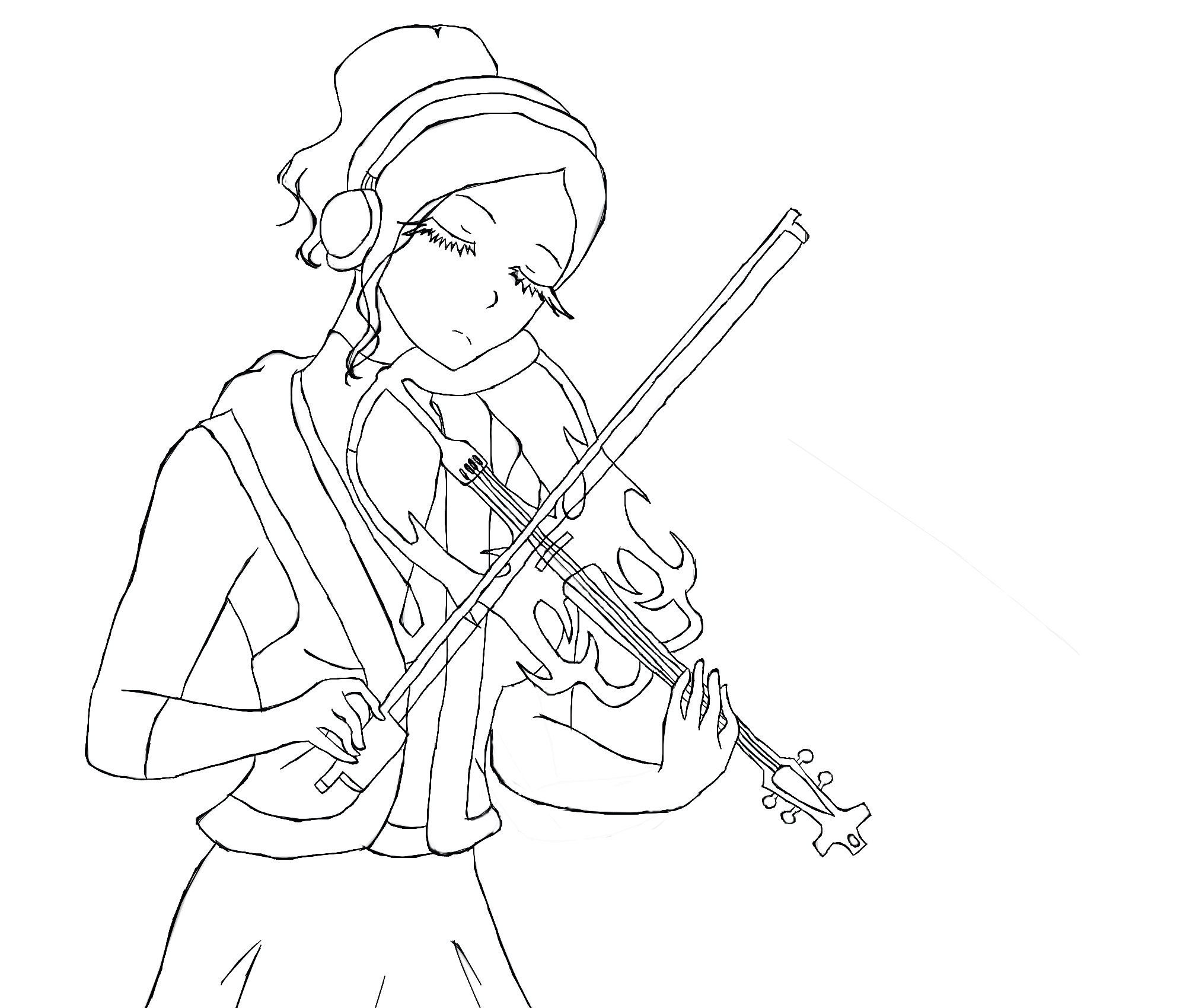 Drawn violin line drawing 198329 Outline by DeviantArt Outline