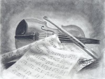 Drawn violinist realistic Master Drawing Drawing at