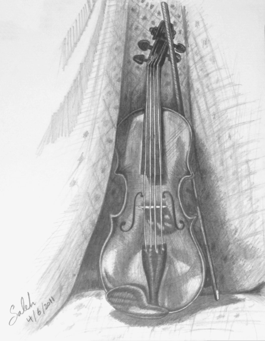 Drawn violinist realistic Violin Dark by Knight 3
