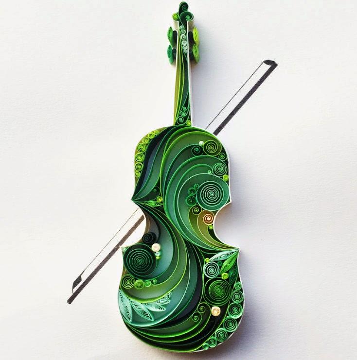Drawn violinist realistic Quilling Design Sena Stack: Architecture: