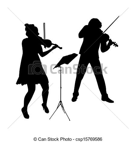 Drawn violinist silhouette Violinist vector  of Vector