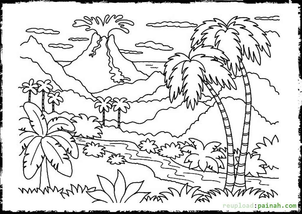 Drawn volcano coloring page Sheets Volcano Coloring Pages Volcano