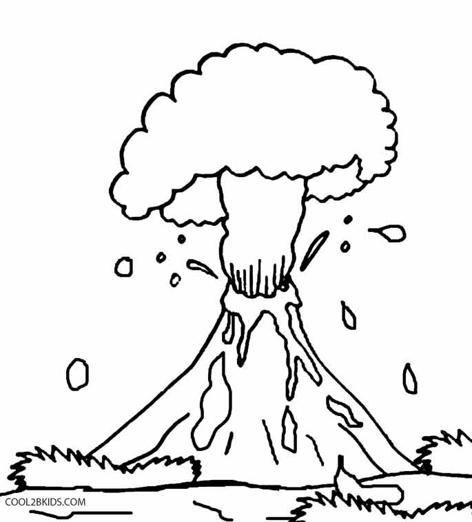 Drawn volcano coloring page Cool2bKids Kids Pages Volcano Pages