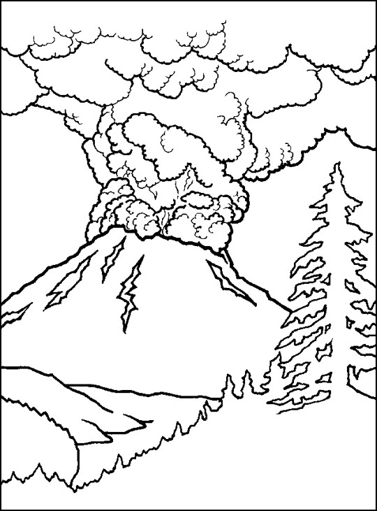 Drawn volcano coloring page Volcano Printable  Pages Volcano