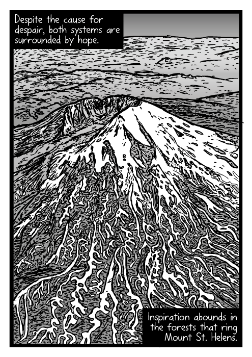 Drawn volcano comic St Mount about St view