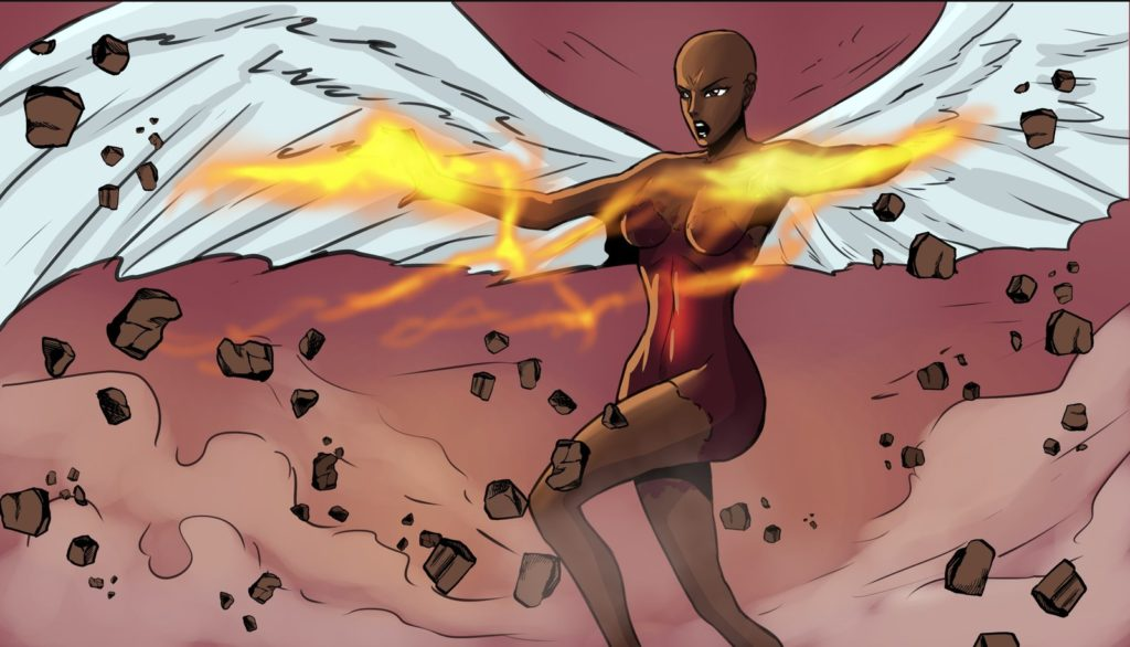 Drawn volcano comic Comic Woman is Black Owned