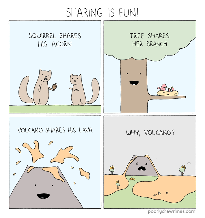 Drawn volcano comic Poorly – Share Lines %link
