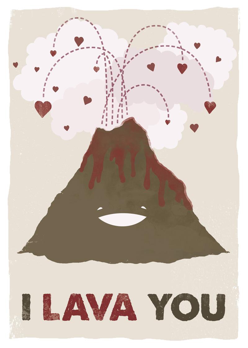 Drawn volcano cute Print (Breakfast I Volcano Lava