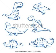 Drawn volcano cute Vector dinosaurs cute doodle draw